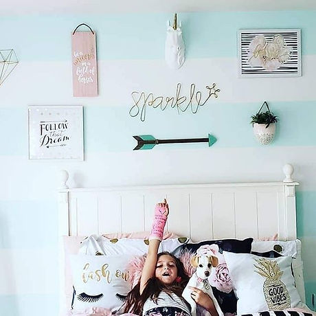 Girls Room. Most decor is from Hobby Lob