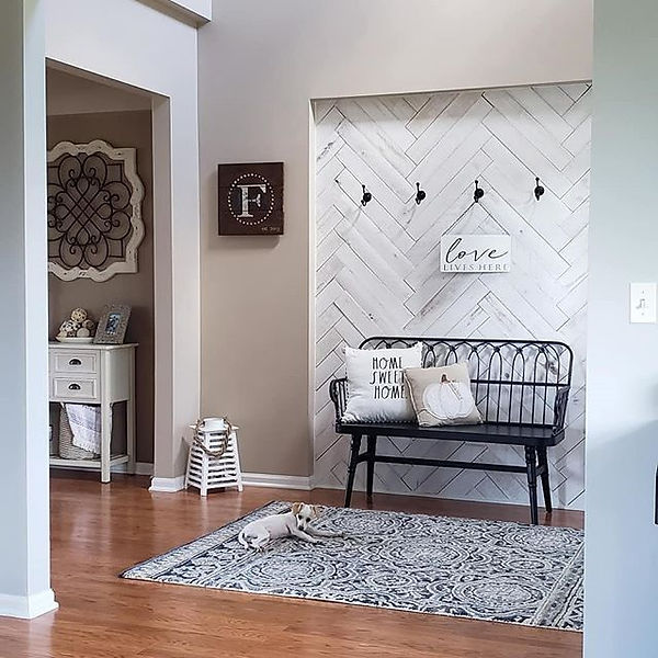 Entry Room Wall. Distresses white wood p