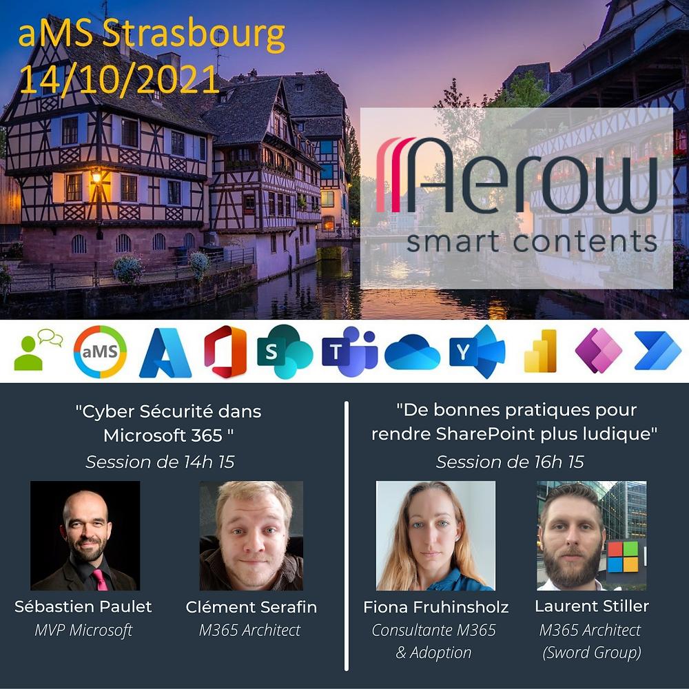 Evènement du 14/10/2021:   « aMS Strasbourg 2021: Cyber sécurité dans Microsoft 365 et Bonnes pratiques pour Sharepoint »