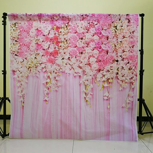 Pink Wall Flowers Backdrop 5x 5ft
