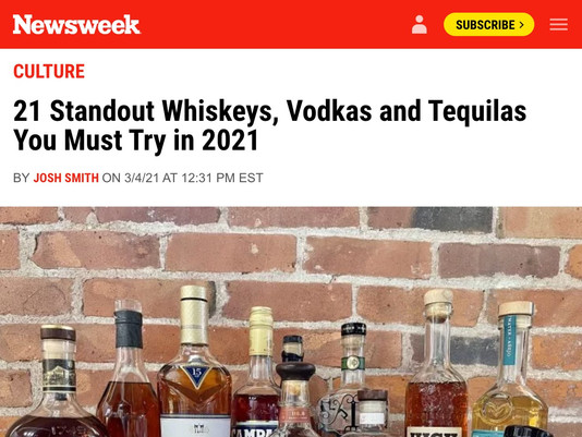 NEWSWEEK: 21 Standout Whiskeys, Vodkas and Tequilas You Must Try in 2021
