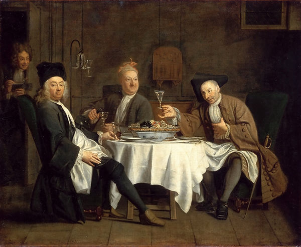 The Wine Drinkers (Les Buveurs de vin or Le Poète Piron avec ses amis, Jacques Autreau, ca. 1729/32 - Musee du Louvre, Paris | Savoir-boire | Drunks or Connoisseurs |  | From Drink to Savoir-boire | Wine and Painting | The Virtual Wine Museum