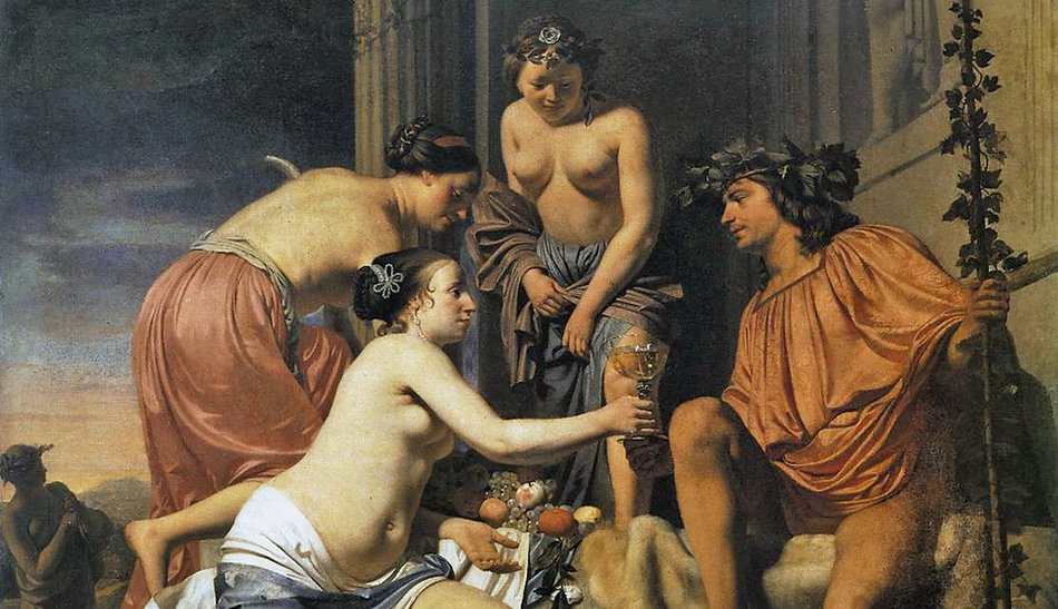 Bacchus on a Throne - Nymphs Offering Bacchus Wine and Fruit  | Caesar Boetius van Everdingen, ca. 1660 - Gemaldegalerie, Dresde, Germany | From Divine to Sacred |  Wine and Painting | The Virtual Wine Museum