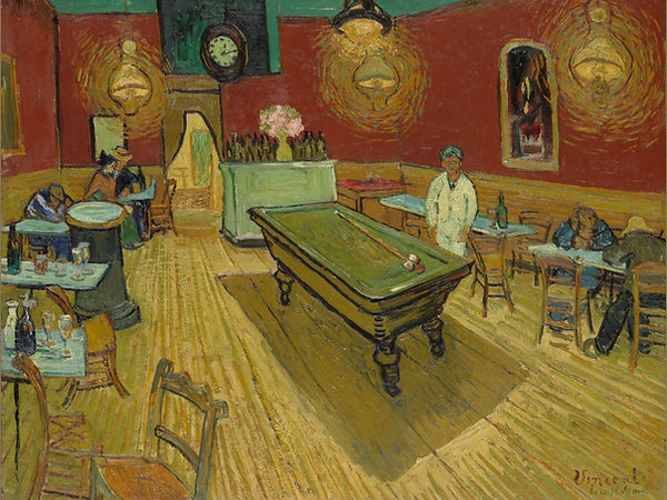Night Cafe (Café de nuit), Van Gogh, 1888 - Yale University Gallery, New Haven, United States | Cafes | Everyday Companion | From Drinking to Savoir-boire | Wine and Painting | The Virtual Wine Museum