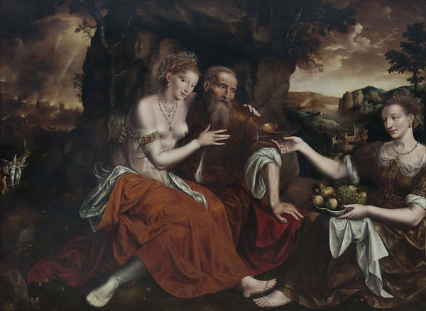 Lot and His Daughters, Jan Massys, 1565 - Royal Museums of Fine Arts of Belgium, Brussels | Lot and His Daughtersh | Blood of the Grapes, Old Testament, Bible | From Divine to Sacred | Wine and Painting | The Virtual Wine Museum