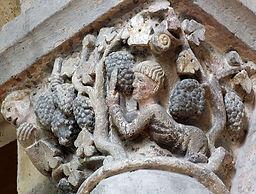 12th-century column decoration, Roman church, St-Pierre de Mozac, Puy-de-Dôme