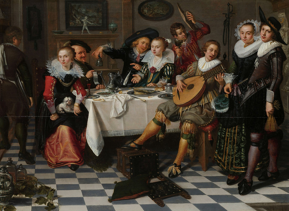 Merry Company, Isaac Elias, 1629 -  Rijksmuseum, Amsterdam, The Netherlands | From Drinking to Savoir-boire | Wine and Painting | The Virtual Wine Museum