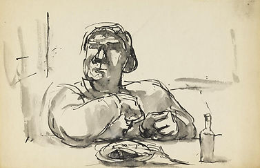 Herman Josef Sketch of a woman at a tabl