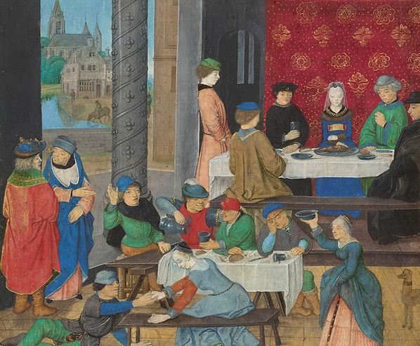 """""""Bonnes et mauvaises manières"""", Facta et dicta memorabilia, Valerius Maximus, 1475   De boire en savoir-boire : le vin est le compagnon de tous les instants   Enluminure   Vin et Peinture   Le Musée Virtuel du Vin"""