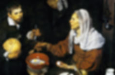An Old Woman Cooking Eggs, Diego Velázquez, 1618 - National Galleries of Scotland, Edinburgh | Everyday Companion | From Drinking to Savoir-boire | Wine and Painting | The Virtual Wine Museum