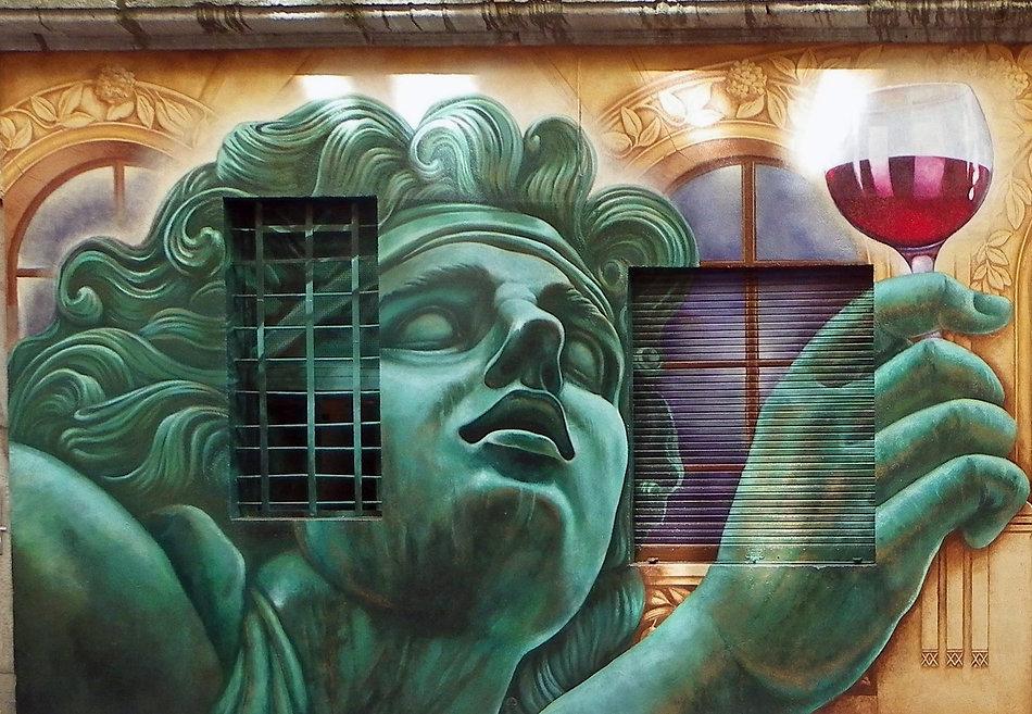 In vino veritas -Restaurant Le Bistrot d'à côté, Croix-Rousse, Lyon | Bacchus et le Vin | Graffiti | Street Art | Exposition virtuelle | Le Musée Virtuel du Vin