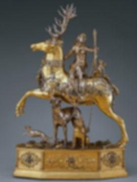 DIANE AU CERF, JEU A BOIRE, Joachim Friess, Allemagne, Augsburg, c. 1620 - Argent en partie doré, émaillé, Socle avec joyaux et mouvement en acier et bois - The Metropolitan Museum of Art, New York