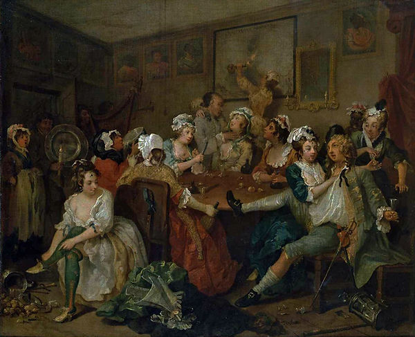 The Rake's Progress III: The Orgy, William Hogarth, 1732/35 - Sir John Soane's Museum, London | Drunkenness | Drunks or Connoisseurs | From Drinking to Savoir-boire | Wine and Painting | The Virtual Wine Museum