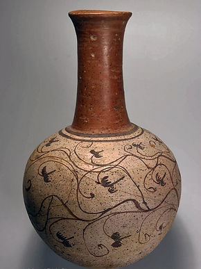 Bouteille à haut col à décor de rinceaux de vigne, Sédéinga (Soudan) - Musée du Louvre