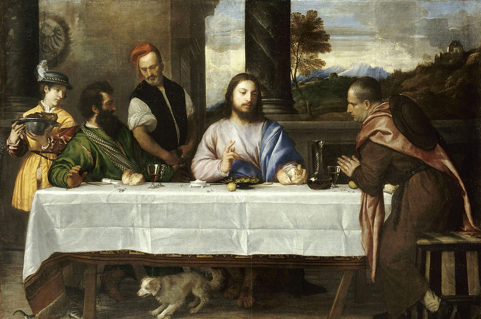 Supper at Emmaus, Titian, ca. 1530 - Musée du Louvre, Paris | From Divine to Sacred | Wine and Painting | Wine and the Arts | The Virtual Wine Museum