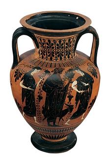 Amphore à col à figures noires, Groupe de Léagros - Musée du Louvre