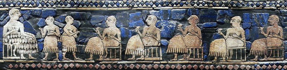 Étendard d'Ür, c. 2550-2400 av JC, Le roi et sa cour - British Museum, Londres