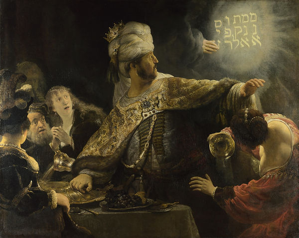 Belshazzar's Feast, Rembrandt, 1635 - National Gallery, Londres | Belshazzar's Feast | Blood of the Grapes, Old Testament, Bible | From Divine to Sacred | Wine and Painting | The Virtual Wine Museum