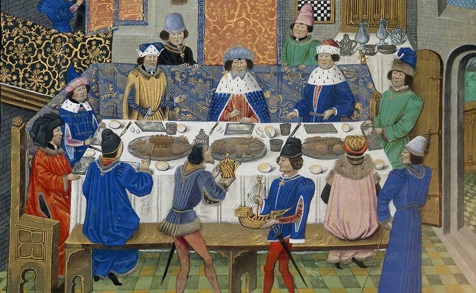 A Royal Feast for King Richard II, late 15th century - British Library, London | Illumination | Wine and Painting  | The Virtual Wine Museum