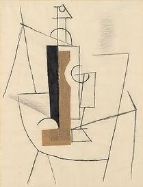 Picasso Bouteille et verre de vin sur un