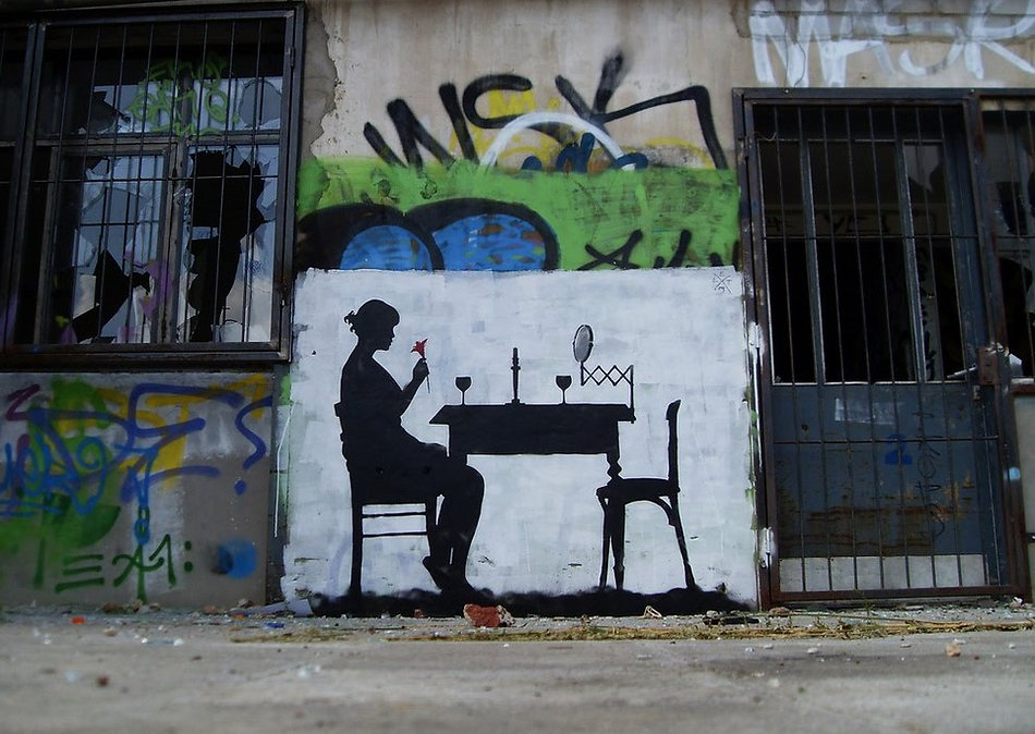 Dîner solitaire, Düsseldorf | Bacchus et le Vin | Graffiti | Street Art | Exposition virtuelle | Le Musée Virtuel du Vin