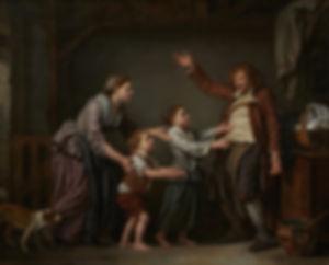 Au XVIIIème siècle, l'ivresse n'est pas l'apanage de l'aristoratie et de grande bourgeoisie. Avec Le Cordonnier ivre, Greuze met en garde contre les méfaits de l'ivresse et se réfère à l'adage selon lequel « les enfants du cordonnier n'ont jamais de chaussures ».