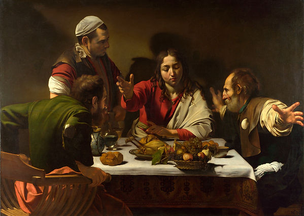 The Supper at Emmaus, Caravaggio, 1601 - National Gallery, London | Supper at Emmaus | Blood of Christ, New Testament, Bible | From Divine to Sacred | Wine and Painting | The Virtual Wine Museum