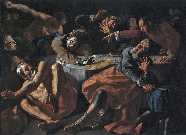 Absalom Meurders Amnon, Gaspare Traversi, 1752 - Monastero di S. Paolo fuori le Mura, Rome, Italy | The Meurder of Amnon | Blood of the Grapes, Old Testament, Bible | From Divine to Sacred | Wine and Painting | The Virtual Wine Museum