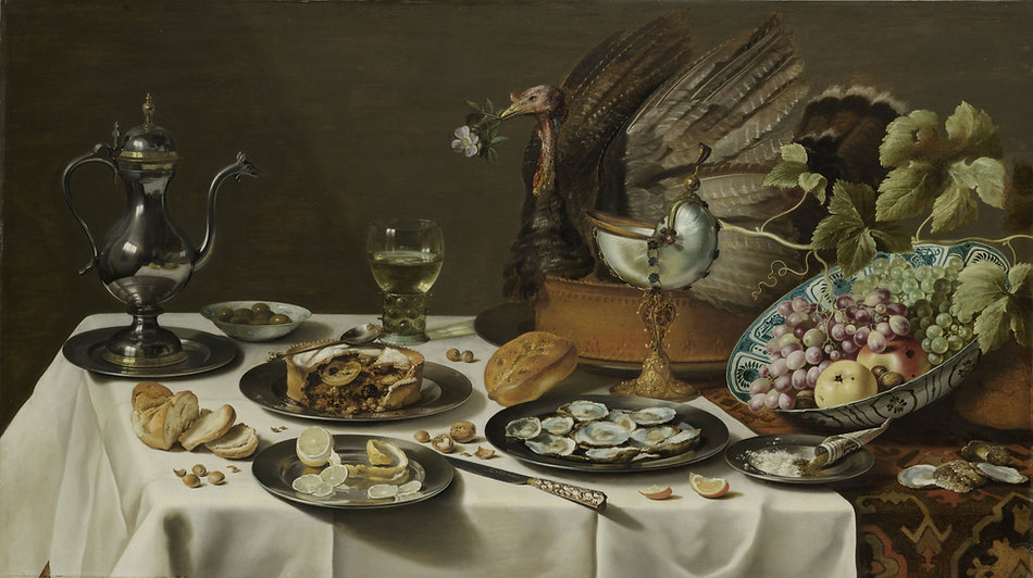 Sill Life with e Turkey Pie, Pieter Claesz, 1627 - Rijksmuseum, Amsterdam, The Netherlands | Still Life | Wine and Painting | The Virtual Wine Museum