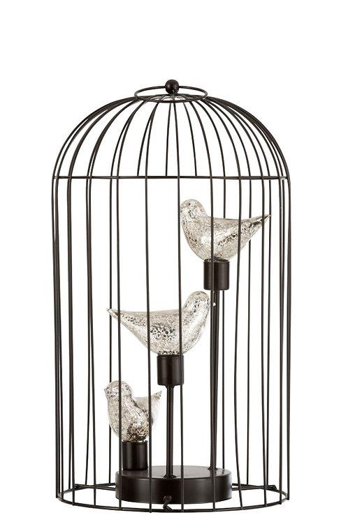 Lampe Led Cage Metal Argent Large