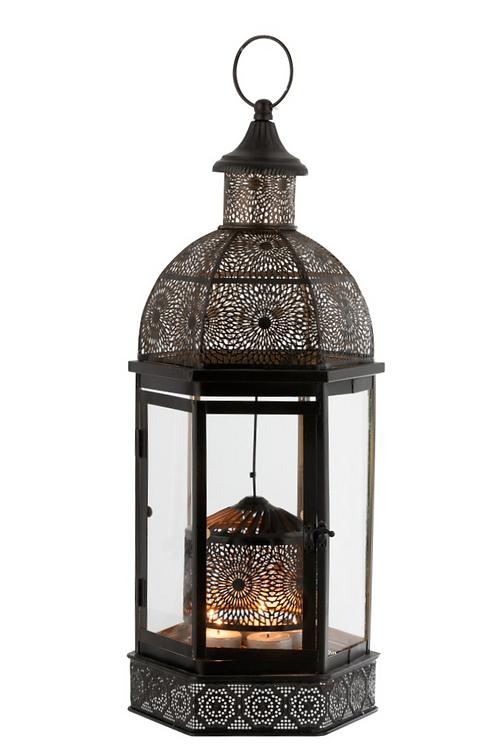 Photophore Lanterne Oriental Fer Noir