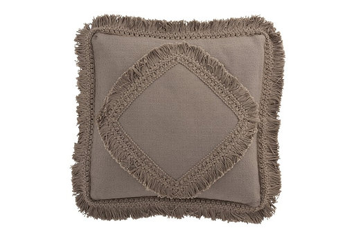 Coussin Franges Carre Coton Taupe