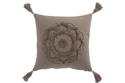 Coussin Fleur + Floches Coton Taupe