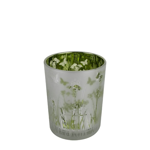 PHOTOPHORE VERRE HERBE ET PAPILLONS SMALL
