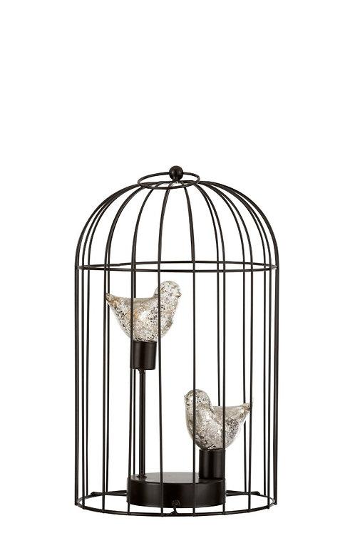 Lampe Led Cage Metal Argent Medium