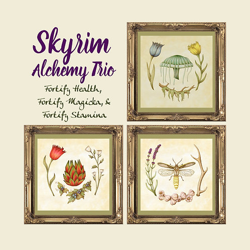 Wordless Skyrim Fortify Potions Print Trio  -  Botanical Illustration - Alchemy