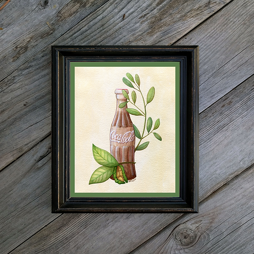 Coca-Cola Art Print - Vintage Inspired Botanical Illustration