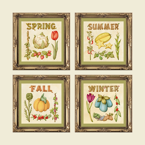 Stardew Valley Set of Four Seasons -Vintage Inspired Botanical Illustration