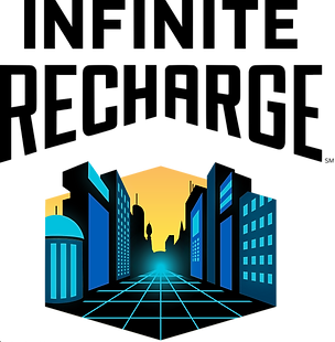 Logo for the Infinite Recharge game through FIRST robotics. Futuristic city in blue and yellow
