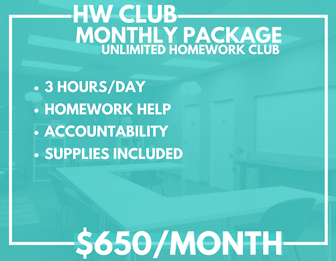Monthly School Year Homework Club