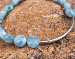 Green Angelite Faceted Flat Stone Bracelet with Accent Bar