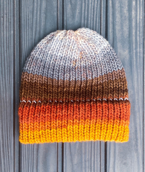 Vermilion Honey Sunset Beanie | One-of-a-Kind