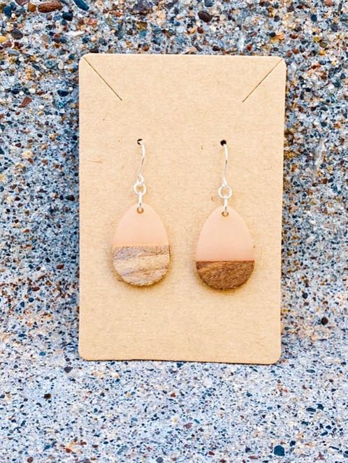 Wood & Pale Pink Resin Solid Drop Earrings