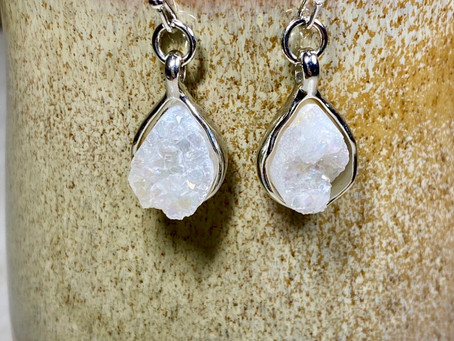 White Druzy Teardrop Charm Earrings