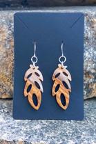 Wood + Peach Resin Pinnate Leaf Pendant Earrings