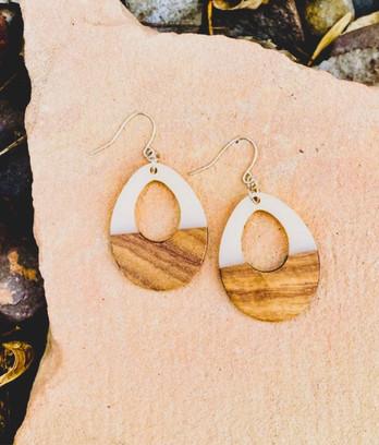 Wood & Cream Resin Teardrop Earrings