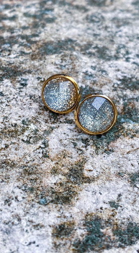 Gold + Silver Glitter Ombre Faceted Stud Earrings