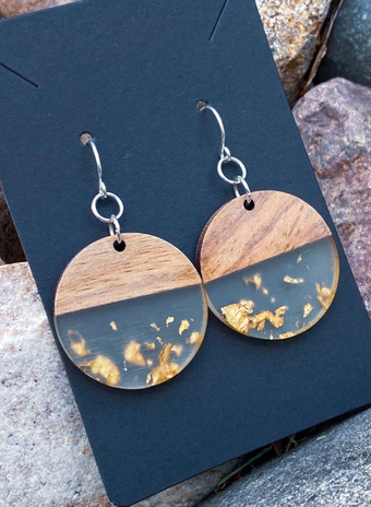Wood & Clear Resin with Gold Foil Disc Earrings