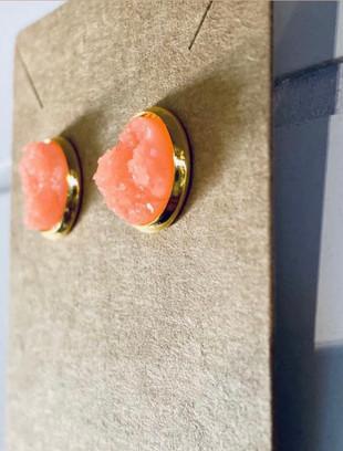 Coral Druzy Stud Earrings