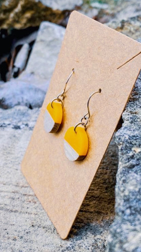 Wood & Sunshine Yellow Resin Disc Earrings